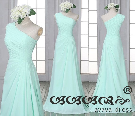 Mint green Bridesmaid Dress,one shoulder bridesmaid dresses,long prom dress, Mint green long Bridesmaid dresses,custom color/size prom dress