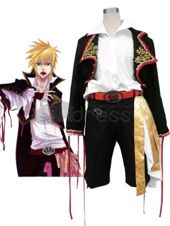 Vocaloid fans are going to recognize this dapper costume. It features a gorgeous dress coat with embroidery and gold rope trim on the lapels.