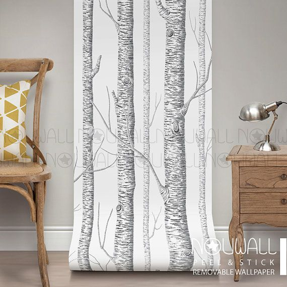Birch Tree Peel & Stick Removable Wallpaper  wall decal by NouWall