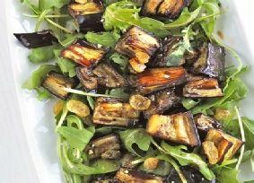Marinated Aubergine Rocket Salad 2 Aubergines Cut Into Small Chunks 3 Tbsp Olive Oil 2 Tbsp Balsamic Vinegar Small Handful Sultanas Bag Rocket