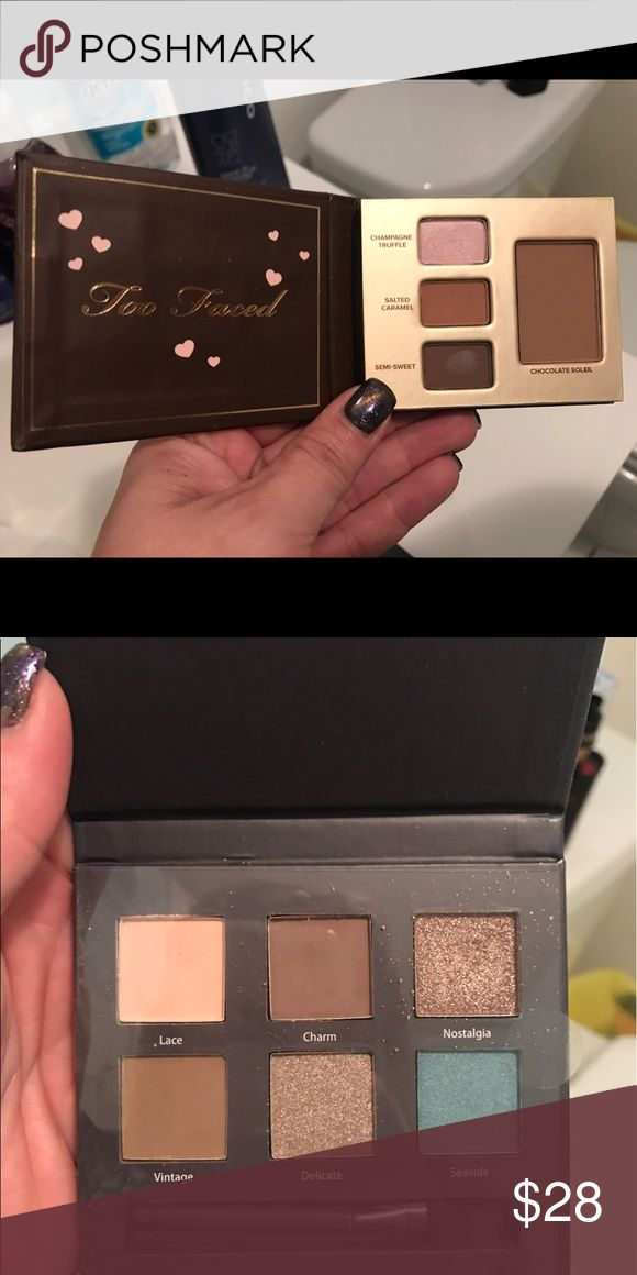 Too Faced & Ulta brand 2 small pallets, Too Faced has 3 shadows & blush and the Ulta one is all shadows, both only swatched Too Faced Makeup Eyeshadow