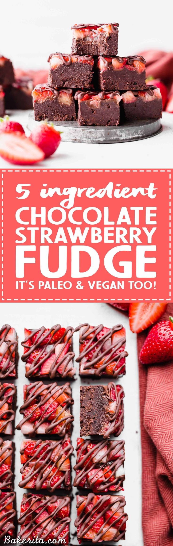This Chocolate Strawberry Fudge is a simple and delicious five-ingredient recipe you'll want to make over and over! It tastes just like chocolate covered strawberries, but way easier to make. There's no cooking required for this gluten-free, paleo and vegan fudge recipe.