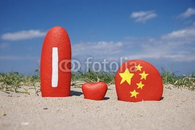 I love China on colourful stones on the sand
