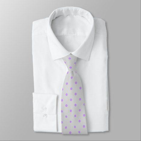 Grey Tie With Polka Purple Dots #polkadot #pattern #accessories