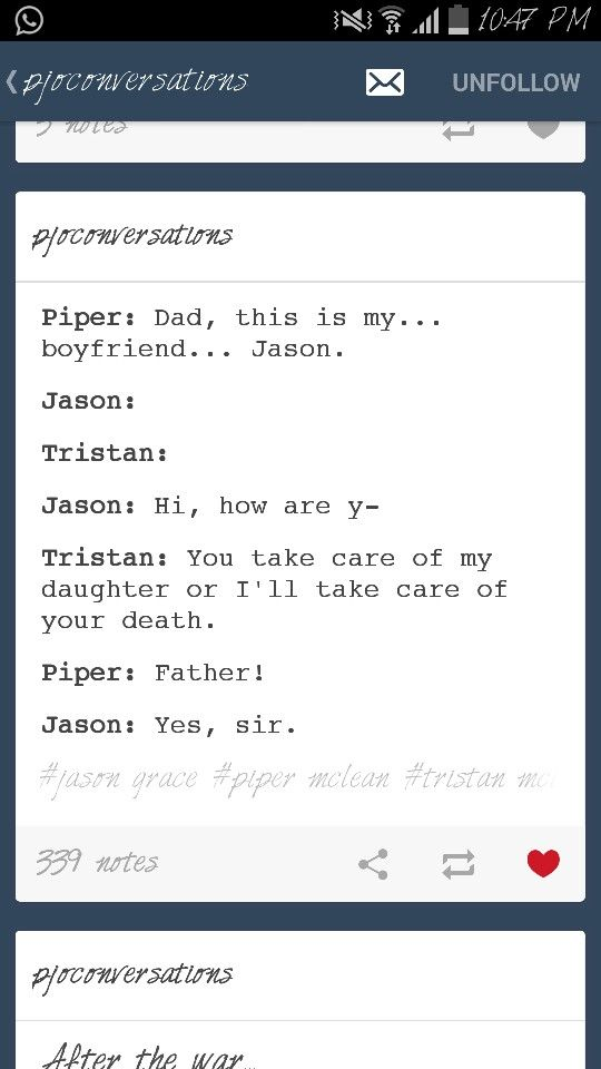 Jason meeting Piper's dad for the first time.