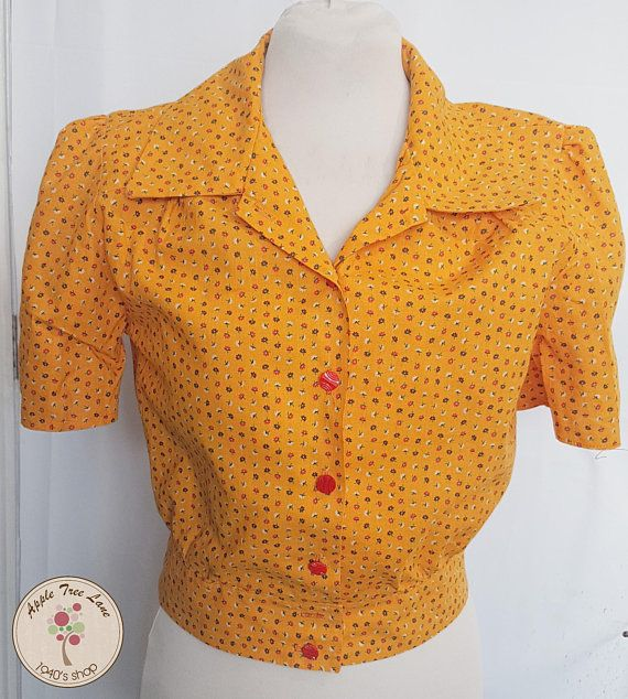 Yellow floral blouse made from a vintage 1940's pattern. Would look lovely for a WW2 reenactment or Home Front event. www.appletreelanecostume.etsy.com
