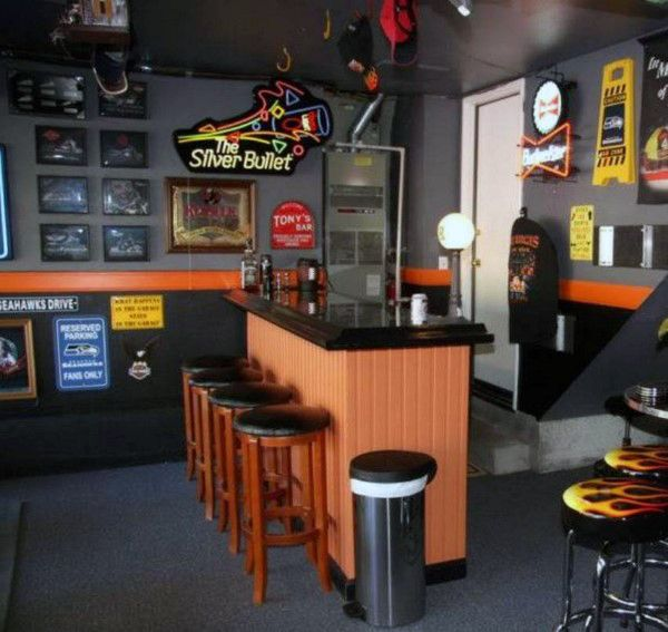 Home Garage Design Ideas: Awesome Man Cave Bar Harley Davidson Inspired Paint Colors