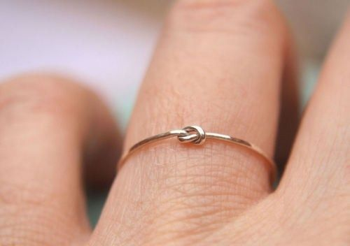 "Dainty Knot Ring to ask bridesmaid:  ""I'm getting ready to tie the knot, And I hope you know I love you a lot! I've got my ring, now this one's for you. Please stand by me as we say ""I do. Be my bridesmaid?"""