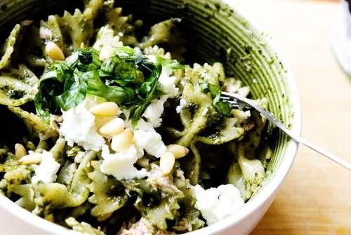 Basil pesto pasta with tuna and pine nuts | Pasta With Tuna, Pesto ...