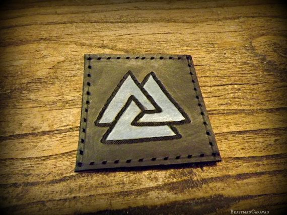 Unique  Leather Valknut Patch by BeastmanCaravan on Etsy