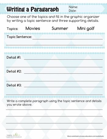 Topic Sentences Worksheets