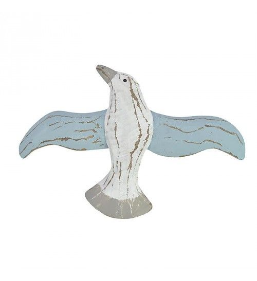 WOODEN SEAGULL IN WHITE-LT BLUE COLOR 17X1_5X25