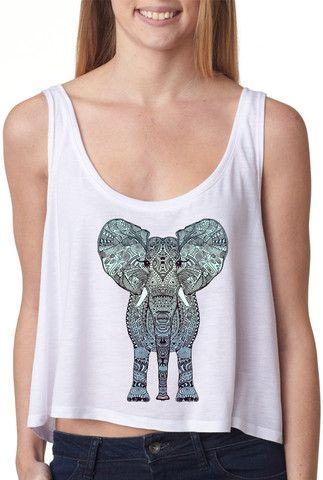 Aztec Elephant Crop Top