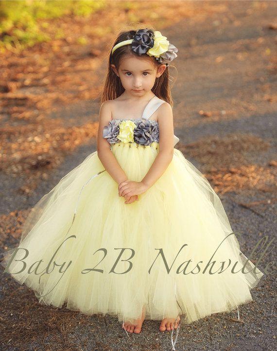 a0d3a782b78 Flower Girl Dress Wedding Flower Girl Dress in Yellow and Gunmetal up to  size 6 Girls