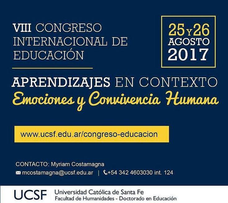 #Argentina  #España  #Uruguay  %Chile  #Colombia 25 y 26 de agosto más talleres precongreso el 24 en Santa Fe. Tremendo programa del VIII Congreso Internacional de Educación. Aprendizajes en Contexto. Emociones y Convivencia Humana  Todo en http://ift.tt/2w4B1jy  #CIEUCSF2017 -> #Congreso #Educación #EducaciónEmocional #Emociones #Convivencia #InteligenciaEmocional #Afectividad #Emoción #EducaciónyEmoción #Agosto #2017 #congresos #eventos #educacionemocional