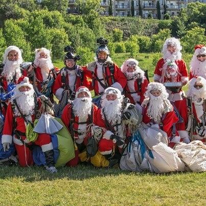 A moitly crew of Santas