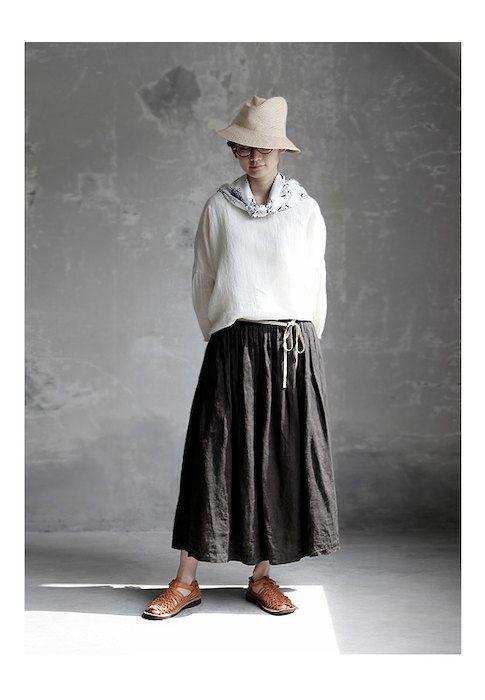 【送料無料】Joie de Vivreフレンチリネン硫化染め ロングギャザースカート