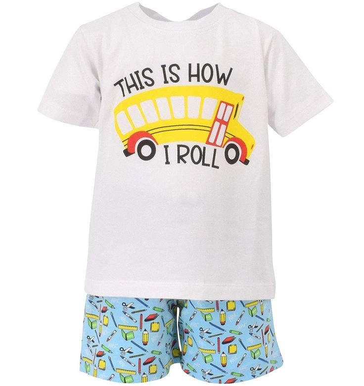 Boys This is How I Roll School Bus Back to School Outfit White – CD18D73TTOE