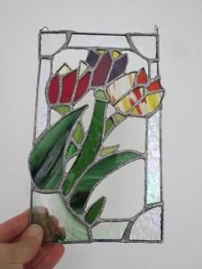 Vintage-Stained-Glass-Tulip-Window-Decoration-Scandinavian-Artist-Made-Signed