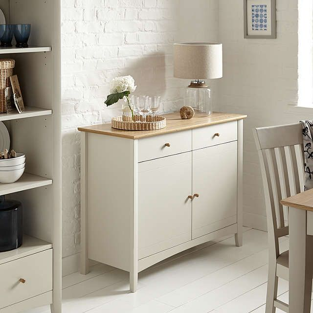 BuyJohn Lewis Alba Narrow Sideboard, Soft Grey/Oak Online at johnlewis.com