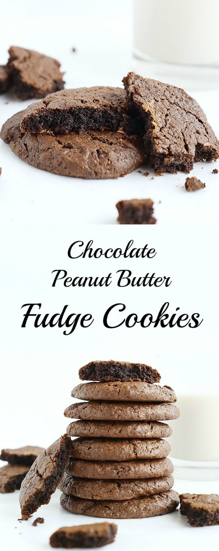 Chocolate Peanut Butter Fudge Cookies that are Vegan and Gluten free and melt in your mouth! Soft and super quick and easy to make, only 6 ingredients! / TwoRaspberries.com