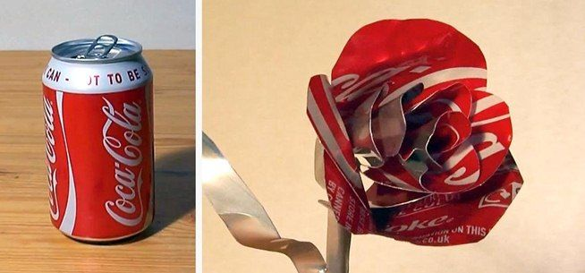 This video shows a step-by-step guide for making a Valentine's Day rose out of an empty Coke can (or soda of your choice). All you need is an empty Coca-Cola can (or other soda can), a knife, and a pair of scissors.