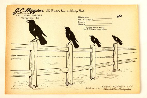 Five black crows, sitting on a fence...    Shooting practice will never be the same again! Add this 1940s crow paper shooting target to your