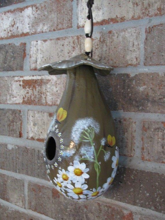 Handpainted Gourd Birdhouse Very Unique by gourdartistIam on Etsy
