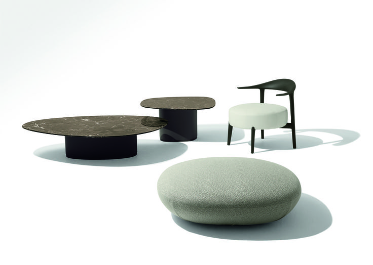 Ripple armchair Galet coffe table Galet pouffe  Design for Giorgetti by Ludovica + Roberto Palomba