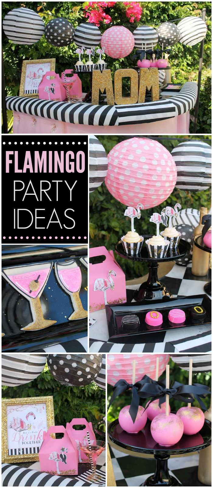 Check out this fancy flamingo Mother's Day cocktail party! See more party ideas at CatchMyParty.com!