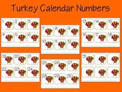 November Calendar Numbers from Fun A Day on TeachersNotebook.com (24 pages)