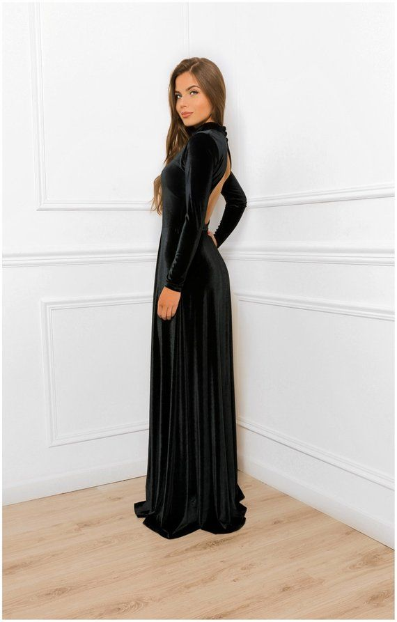 6f7f32738b6 Keyhole Back Velvet A- Line Maxi Dress   With High Neck Long Sleeve   Bridesmaid Party Dress