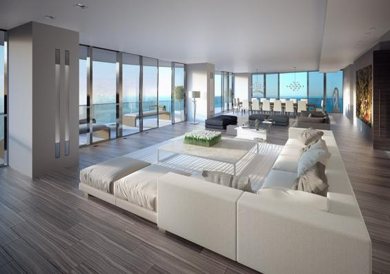 Projeto de um apartamento decorado do empreendimento Regalia Miami, em Sunny Isles - Miami - Flórida. Todo o apartamento é rodeado de janelas de vidro com proteção solar. As janelas vão do piso ao teto maximizando a vista e integração com o conceito de vida a beira mar. A claridade invade o apartamento por todos os ângulos chegando inclusive ao seu centro.