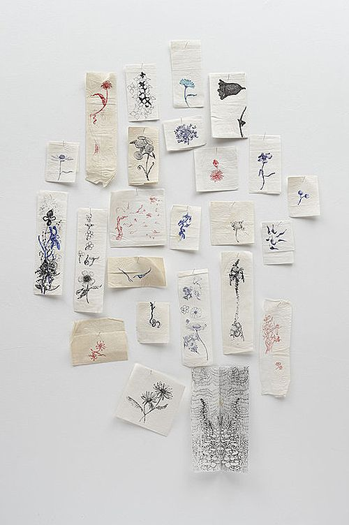 jim hodges - ink + paper napkins + pins - a diary of flowers in love (1996)