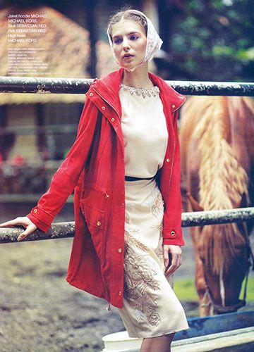 Top & Skirt: SEBASTIANred, Jacket: Michael Kors in GRAZIA Indonesia No. 4 April 2014; Model: Vasilisa; MUA: Ariya Wibowo; Digita Imaging: Darjo CS. #RTW #PEACEofMIND