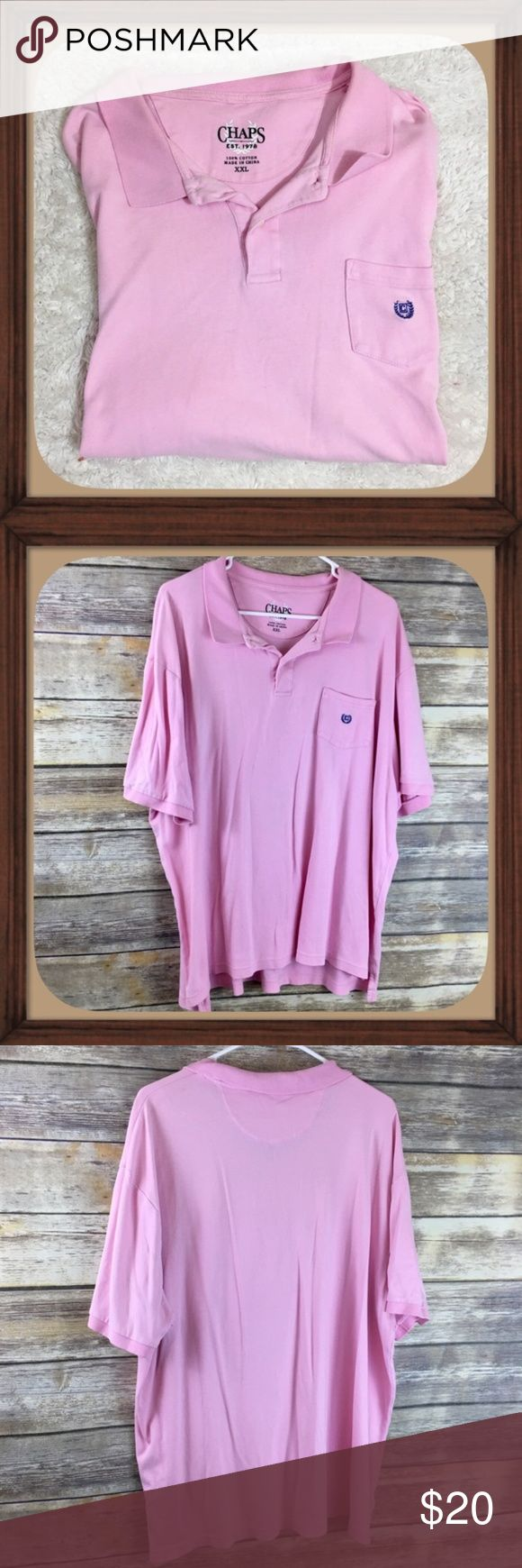 Chaps Men's Light Pink Soft Cotton Polo Shirt XXL Chaps Men's light pink polo. Size XXL. In good used condition. 27 inches long. 26 inches arm pit to arm pit without stretching material.   Be sure to read measurements.   All Offers Are Considered Don't Be Shy!   No Trades   15% OFF Bundles   Color may vary slightly due to lighting Chaps Shirts Polos