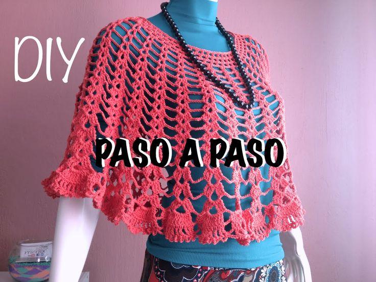 Capa Poncho Mañanita #Crochet #Ganchillo Cape Lay out #Diy