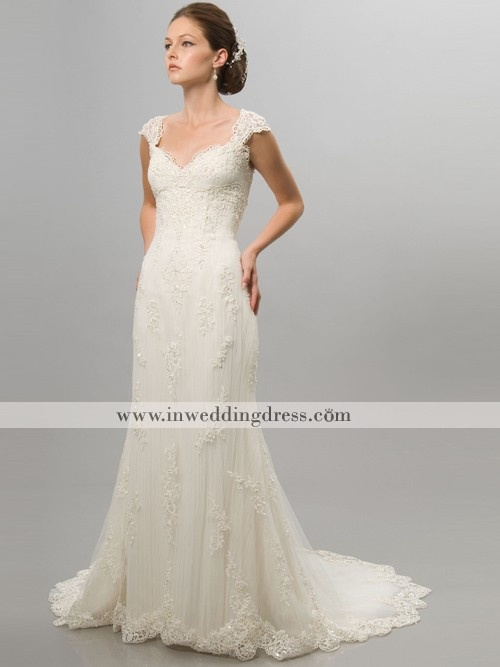 Elegant Wedding Dress-Lace Motifs on Tulle Overlay