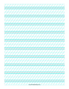 This Calligraphic Guide Paper features sets of light blue guidelines with 1/4-inch shaded guidelines between two 3/8-inch guidelines with high angle vertical guidelines on letter-sized paper in portrait orientation. Free to download and print