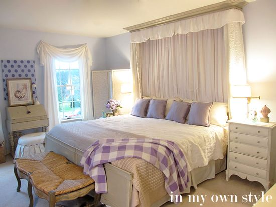 How To Make a Headboard and Bed Hanging for Your Bed | In My Own Style  I love this room, but it can't be lavender, it's too feminine for Brent