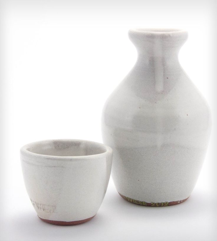 White Glazed Stoneware Sake Set