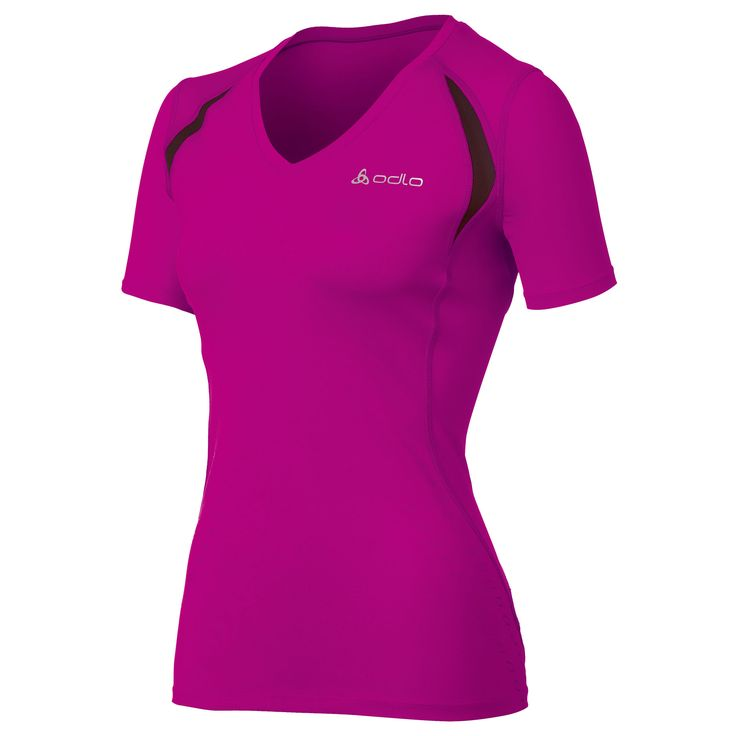 Wiggle Nederland | Odlo gestreept damesshirt met korte mouwen en V-hals hardlopen - shirts met korte mouw