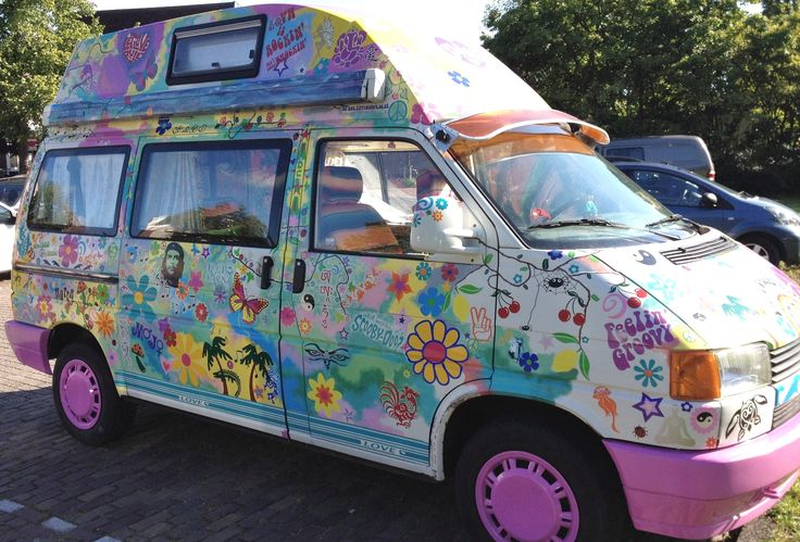 Crazy happy hippy t3 vw camper van stickers flowery transfers by hippy motors http