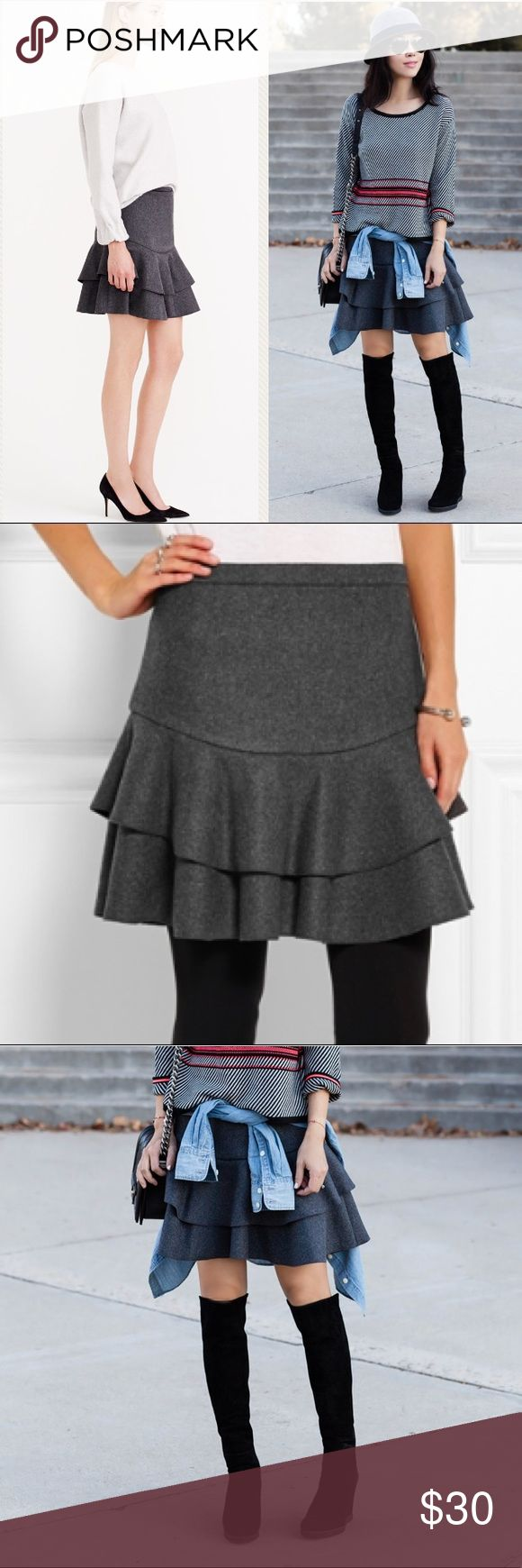 J. Crew Wool Ruffle Skirt Dress it up with heels or dress it down with boots-- heavy weight wool blend ruffle skirt, fully lined with back zip. Stock photo is grey but skirt for sale is black. New without tags. Size 6. J. Crew Skirts