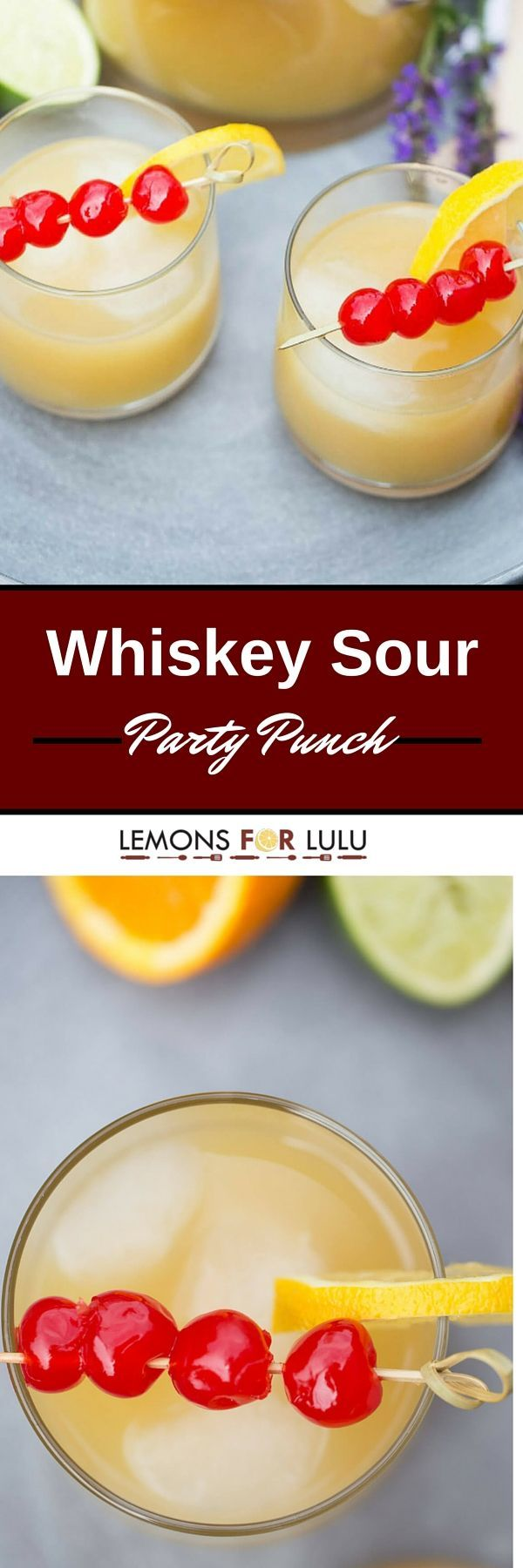 Time to get the party started! Your party will liven up when you serve this easy party punch recipe! Citrus juices, bourbon and lemonade ice cubes give this classic cocktail and fresh, modern spin!