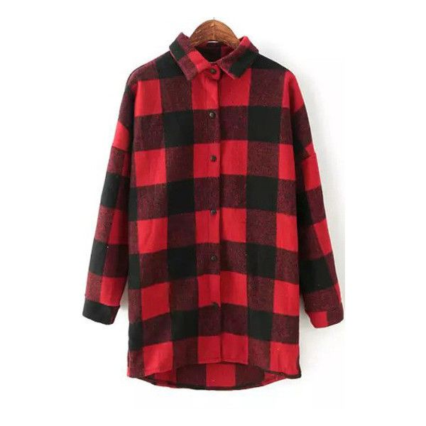 Boye Flannel Shirt Outfit Made (135 BRL) ❤ liked on Polyvore featuring tops, outerwear, red shirt, shirts & tops, punk shirt, punk rock shirts and red top