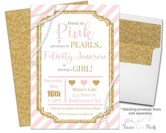Glitter And Pearls Baby Shower Invitation, Pink And Gold Baby Shower  Invitation, Pearl Baby