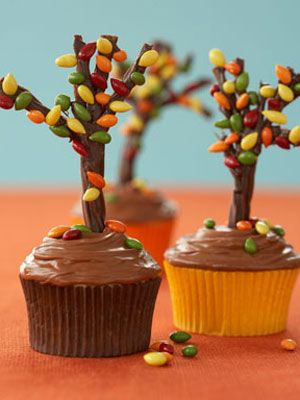 fall trees cupcakes decorated with chocolate licorice and chocolated covered sunflower seeds