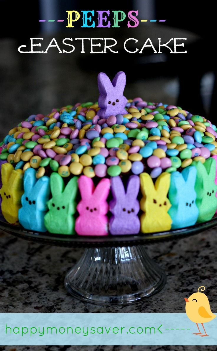 Peeps Easter Cake- A really cute and easy idea for an Easter cake! -- happymoneysaver.com
