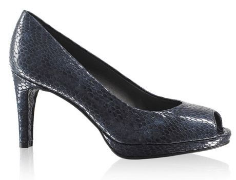RB Court Blue Peep Toe Snakeskin